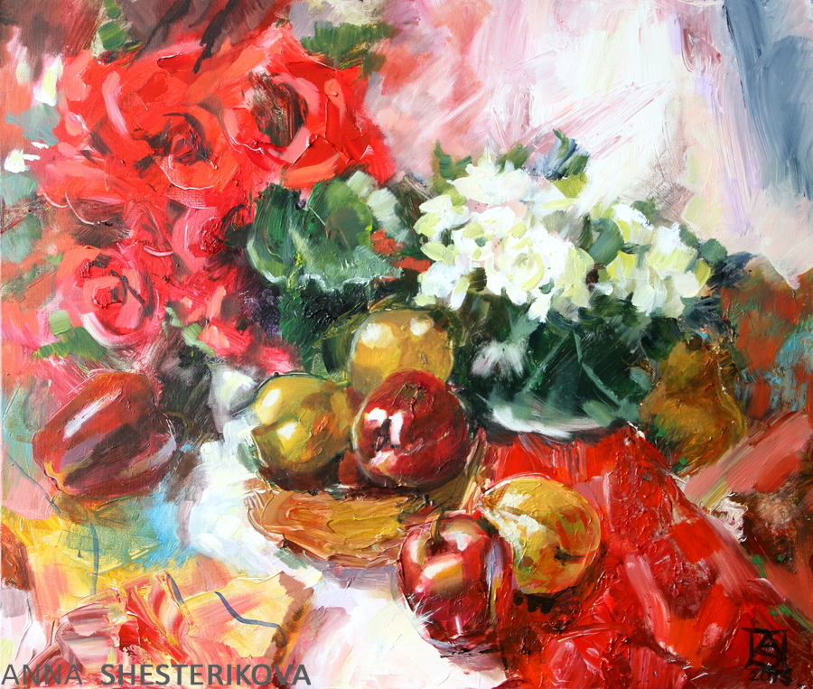 Still life with red and white flowers
